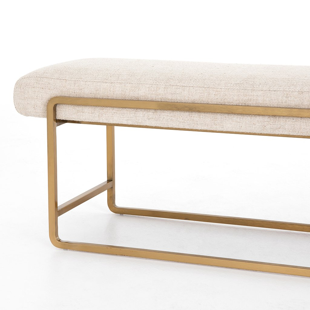 Sled Upholstered Accent Bench - Thames Cream Frame View