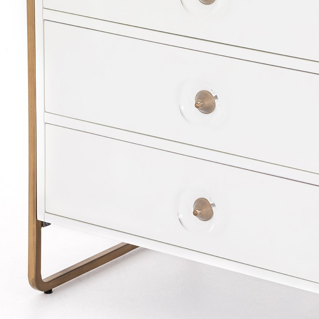 Sorella 6 Drawer White Lacquer Dresser Drawer Detail