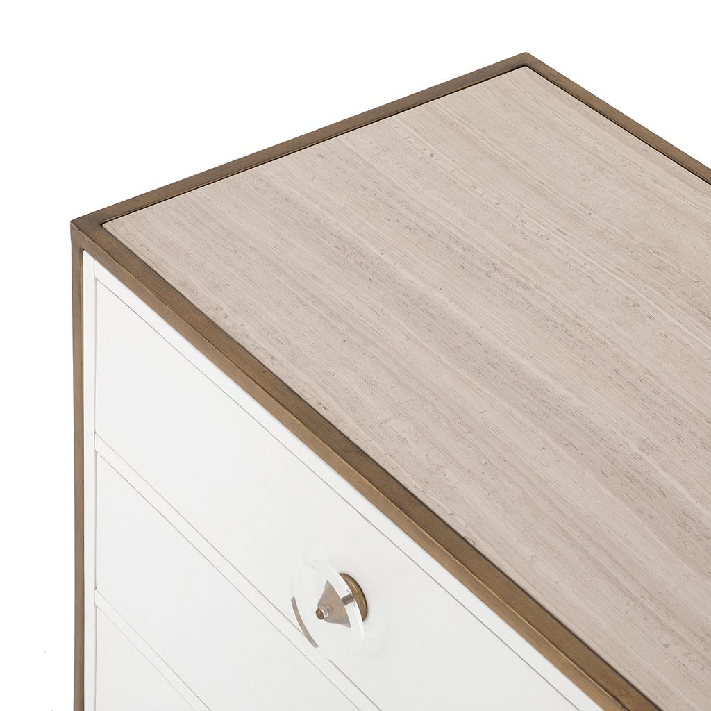 Sorella 6 Drawer White Lacquer Dresser Top Detail