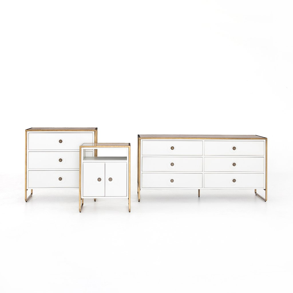 Sorella 6 Drawer White Lacquer Dresser Set
