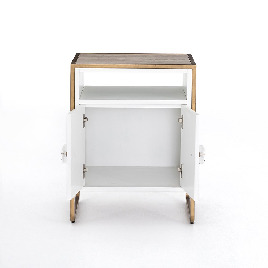 Sorella Matte White Nightstand Doors Open View