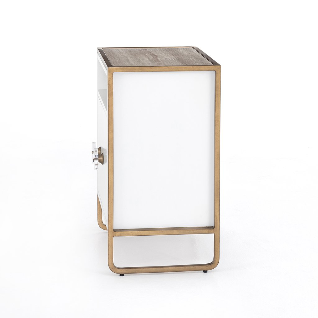 Sorella Matte White Nightstand Side View