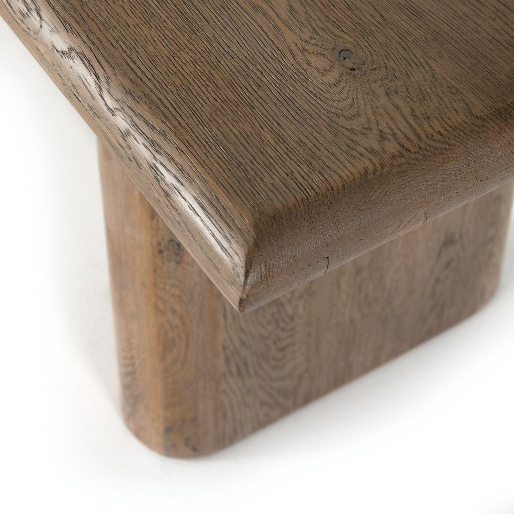 Sorrento Dining Bench - Aged Drift Oak Corner Detail