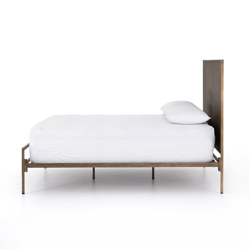 Sunburst Etched Brass Bed Side View