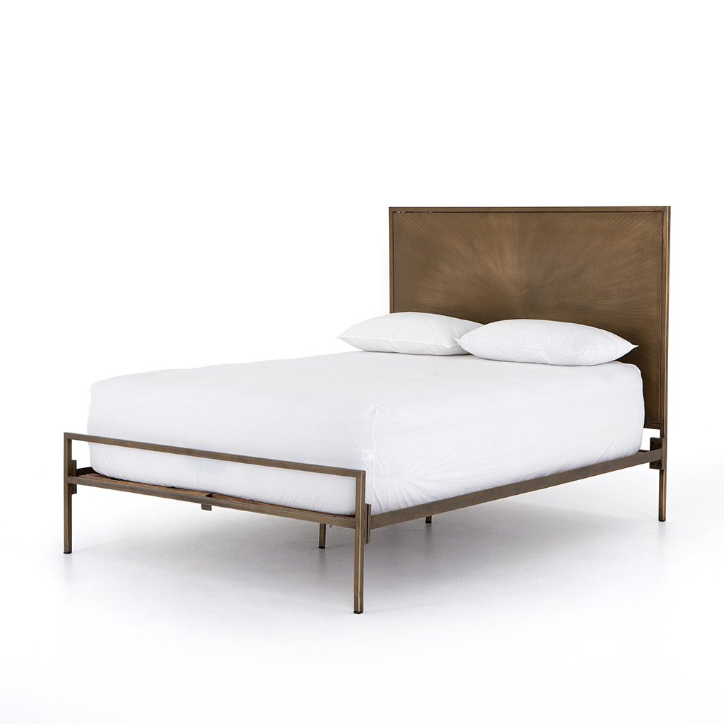 Sunburst Etched Brass Bed