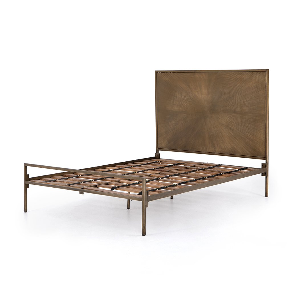 Sunburst Etched Brass Bed No Mattress View