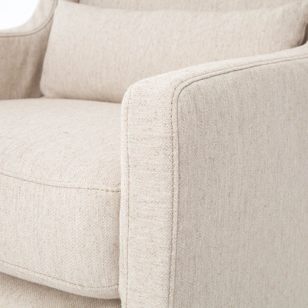 Swivel Wing Chair - Jette Linen Arm Detail