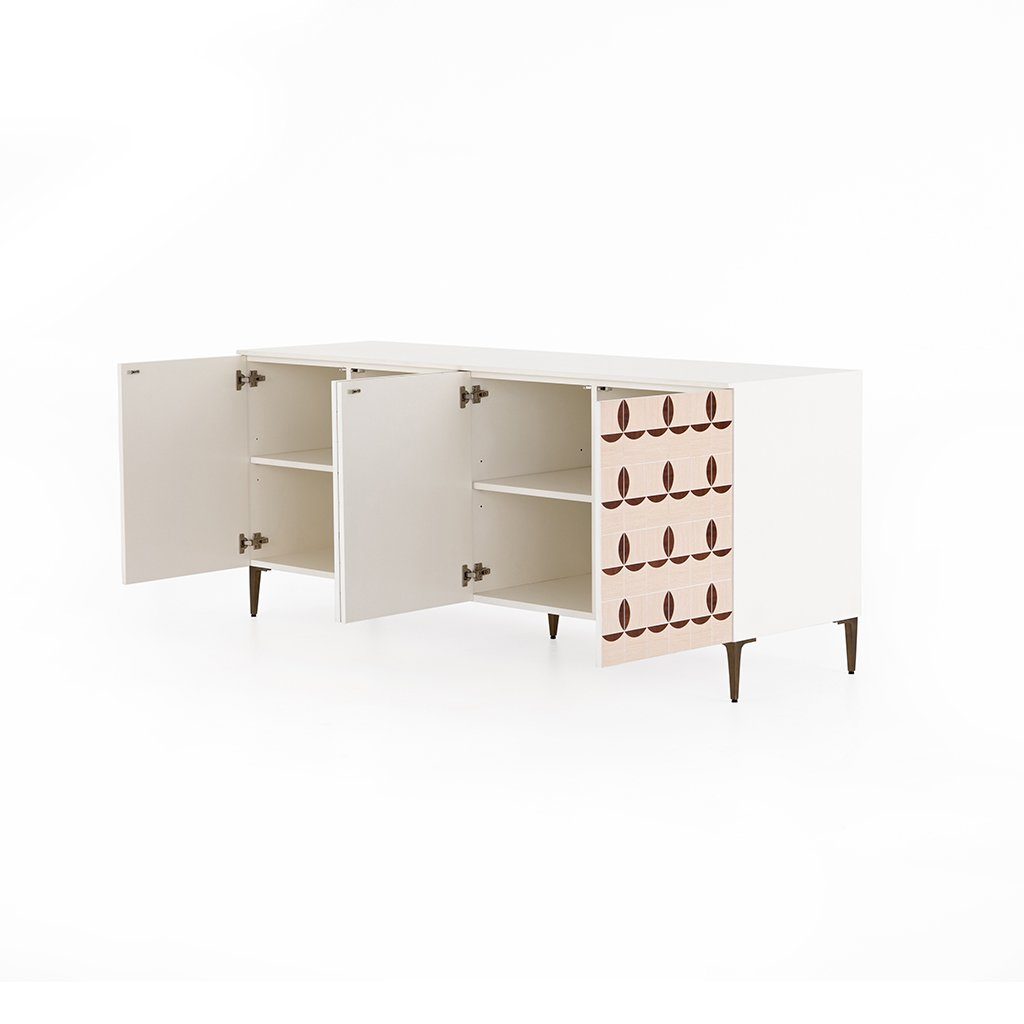Trefoil Sideboard - Ivory JTRB-011 Door Open view