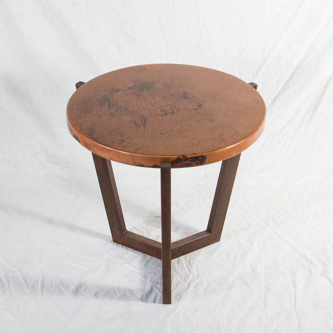 Trico Copper Top Side Table with Iron Base
