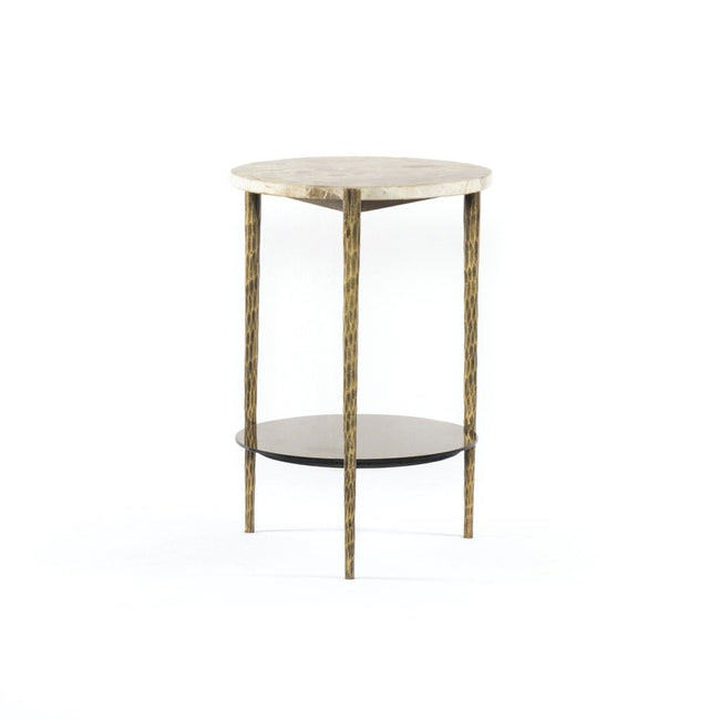 Turin End Table - Fossil Marble