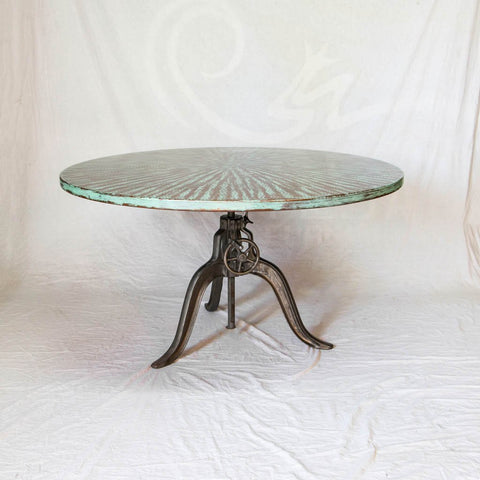 Copper Top Adjustable Dining Table