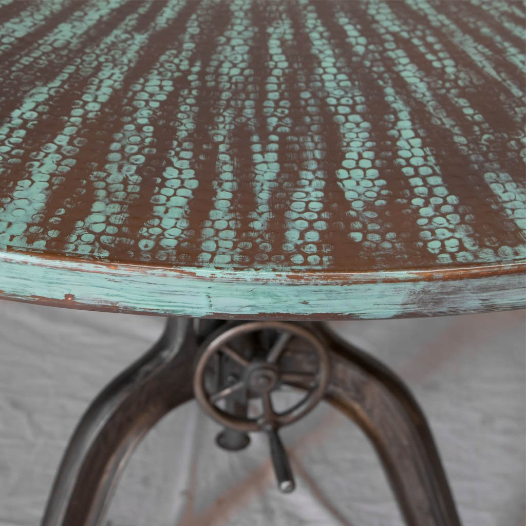 Adjustable Crank Copper Top Dining table