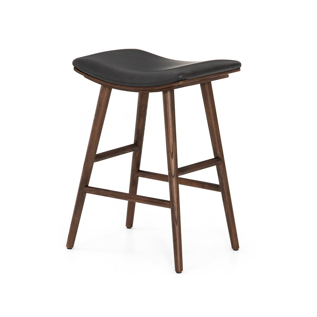 modern black leather counter stool
