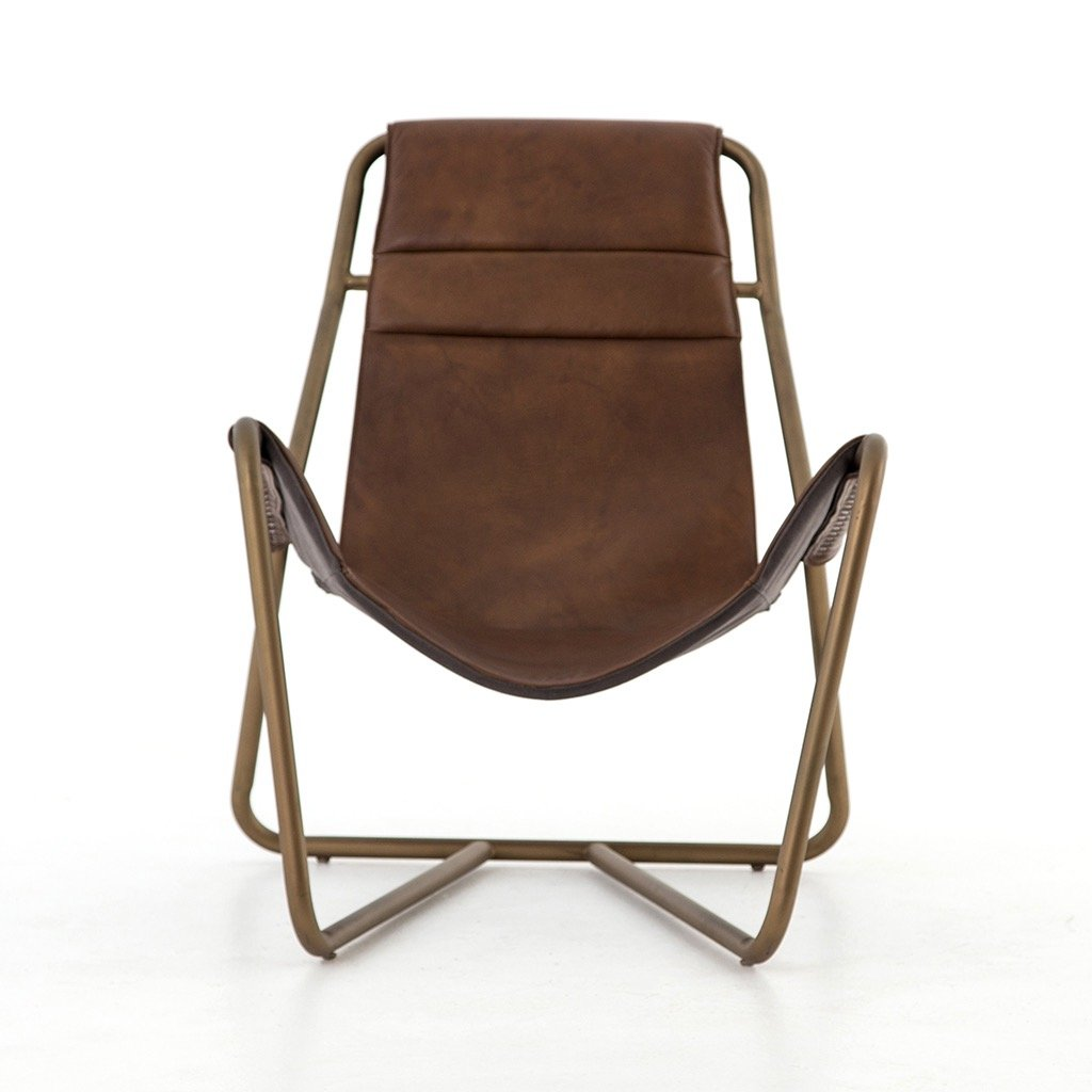 Vera Modern Accent Chair Brown Leather