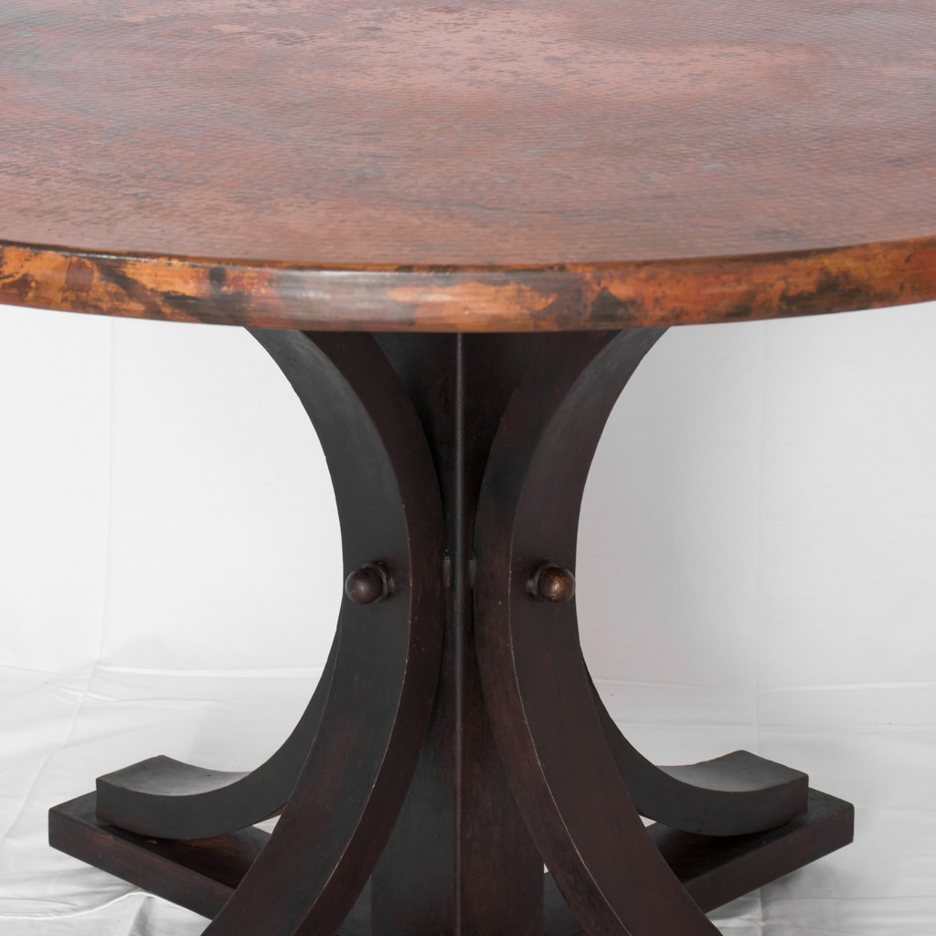 copper dining table with iron base vestal