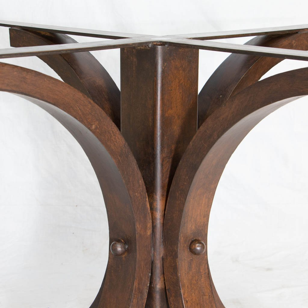 Custom iron dining table base