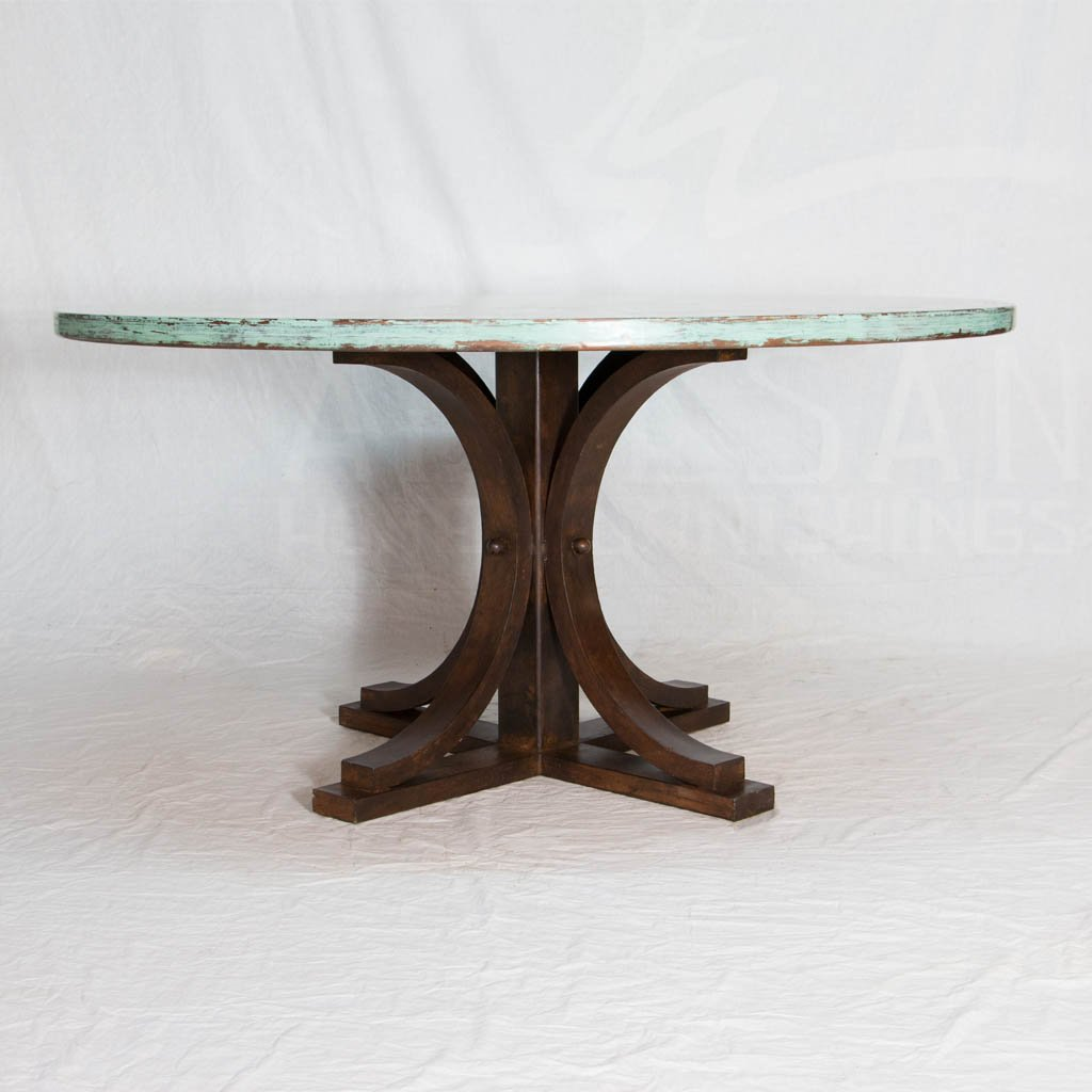 Hammered Copper Tabletop with iron base dining table