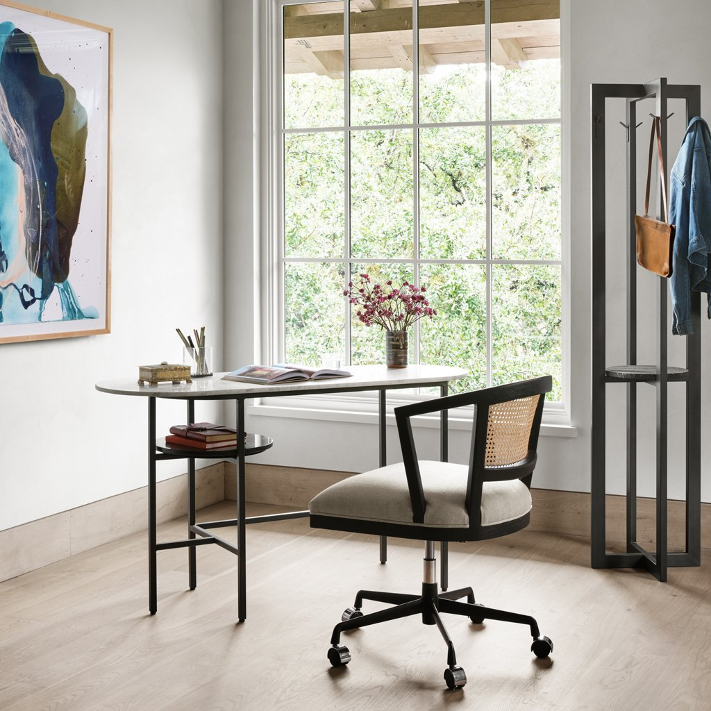 Viv Marble Top Desk - Charcoal Four Hands Office Furniture