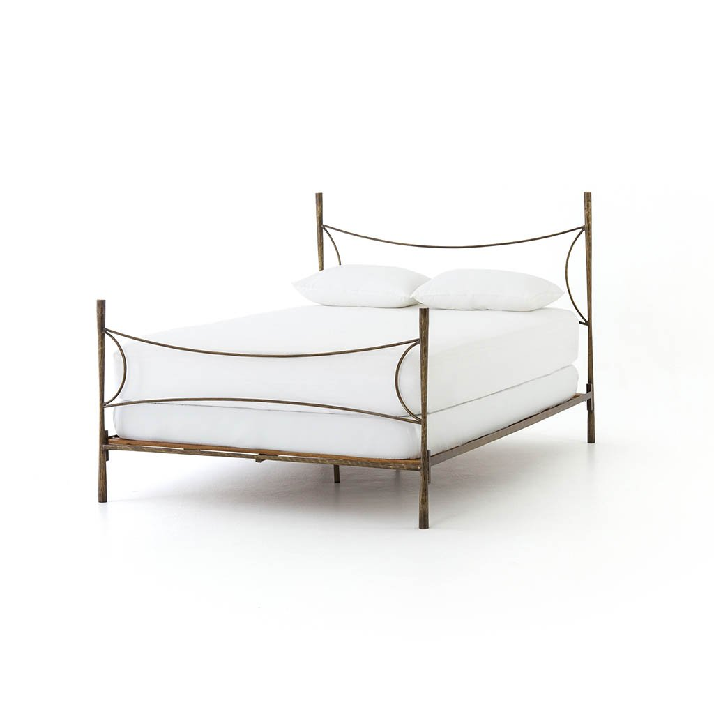 Picture of: Westwood Hammered Iron Bed Frame In Antique Brass