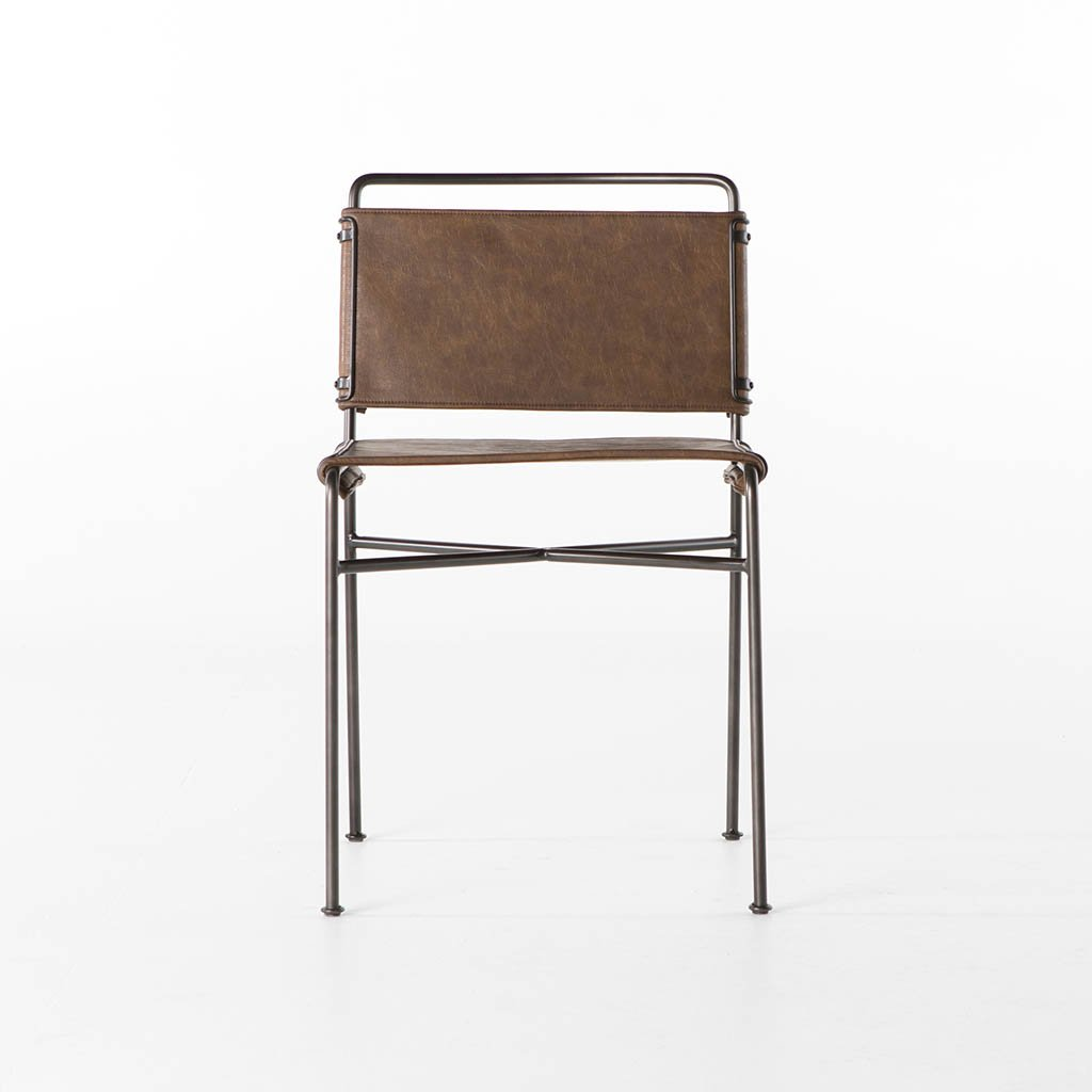 Wharton Modern Dining Chair - Distressed Brown