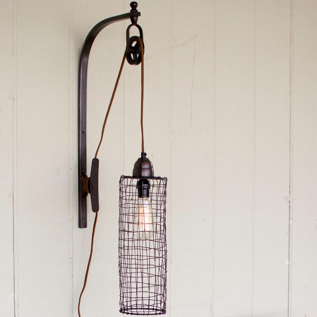 Wire Cylinder Wall Sconce Light