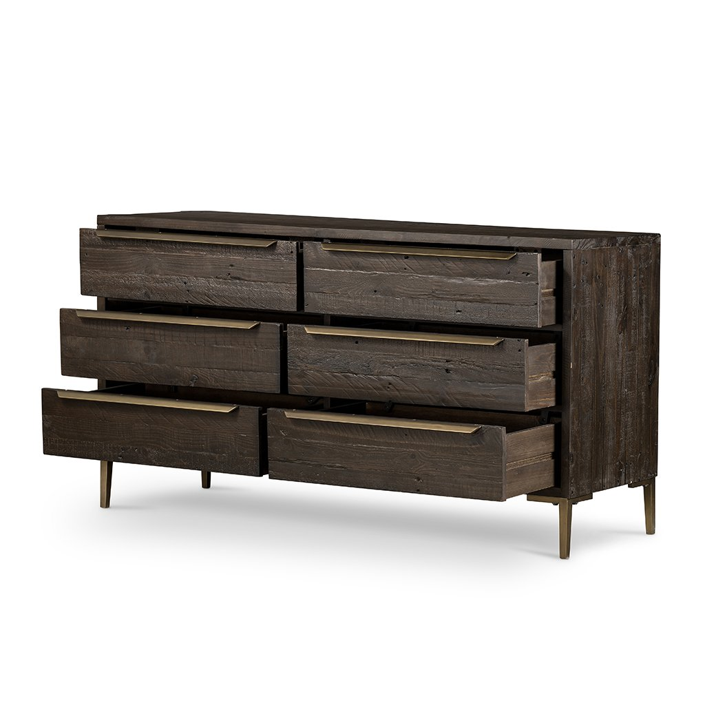 Wyeth 6 Drawer Dresser - VWYT-005B Open Drawers