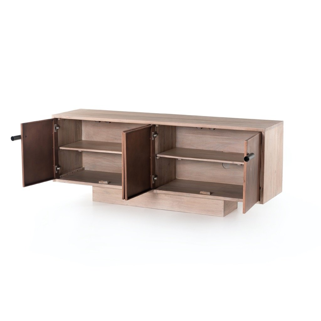 Yvonne Media Console - White Wash Acacia Open Doors