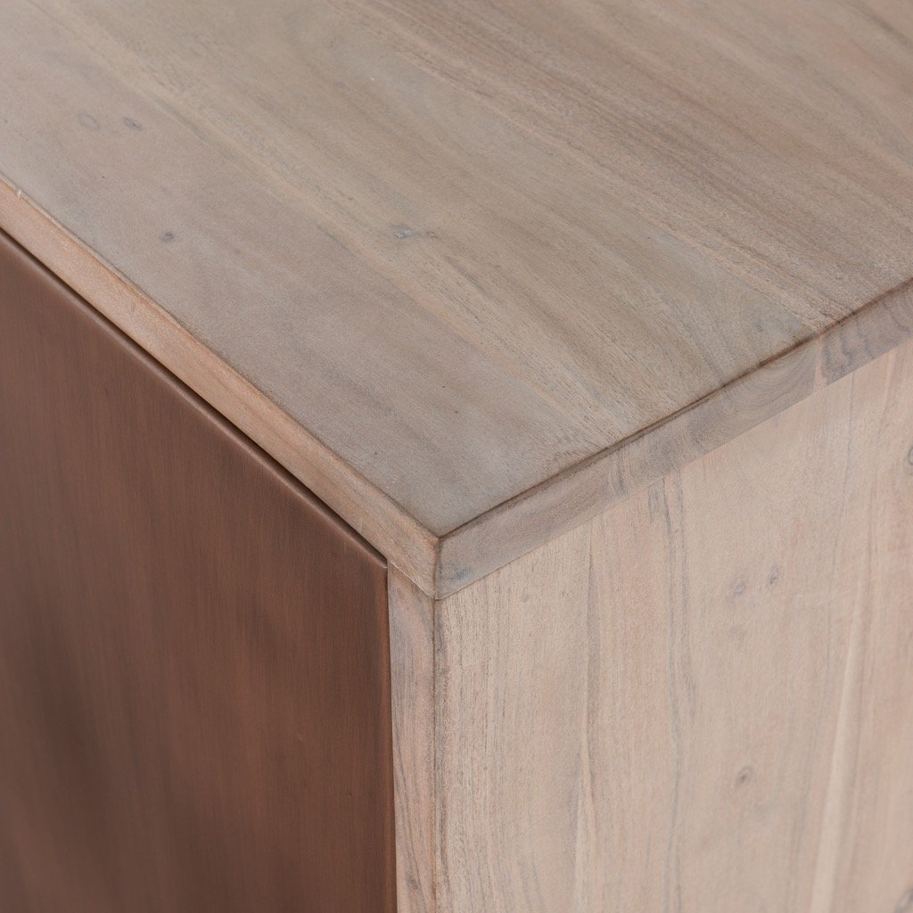 Yvonne Media Console - White Wash Acacia Corner Detail