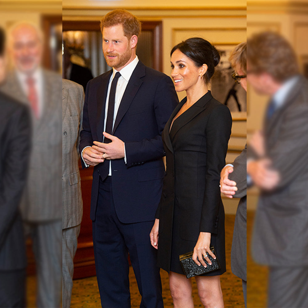 Olga Berg Megan Markle Wearing Olga Berg Box Clutch