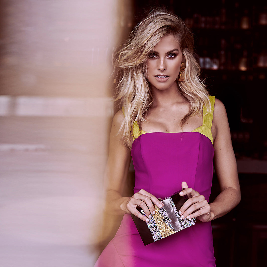 Olga Berg Natalie Roser Wearing Dakota Lightning Acrylic Clutch