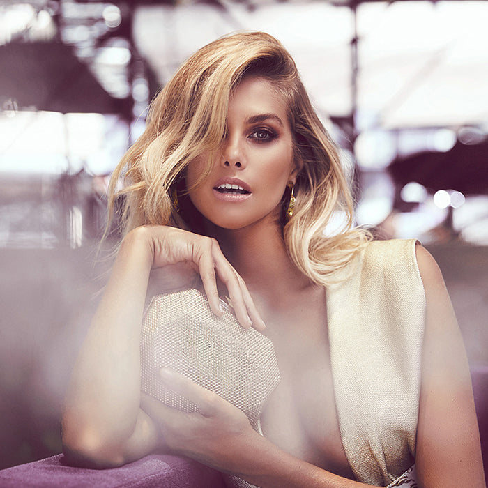 Olga Berg Model Natalie Roser Wearing Telesa Crystal Gold Clutch