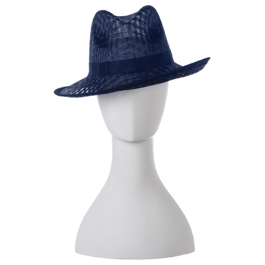 DEMI Eyelet Sinamay Fedora- RRP $139 - Navy - Side - Olga Berg Handbags and Bags Online