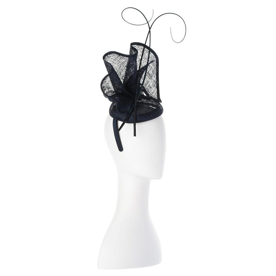 Olga Berg | Lauren Sinamay Fascinator | Navy | Millinery | Fascinator
