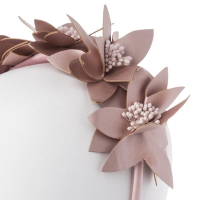 Olga Berg Taylor Floral Headband millinery in Rose Gold colourway showing detailed side view