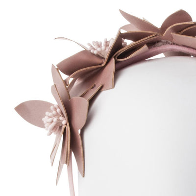 Olga Berg Taylor Floral Headband millinery in Rose Gold colourway showing detailed front view