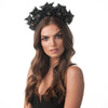 Olga Berg Model Wearing Jada Grosgrain Black Flower Headband Front View