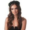 Olga Berg Model Wearing Amber Black Satin Headband Front View