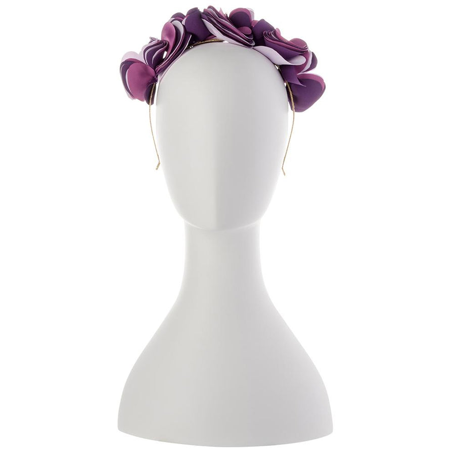 Olga Berg Model Wearing Amber Lilac Satin Headband Front View