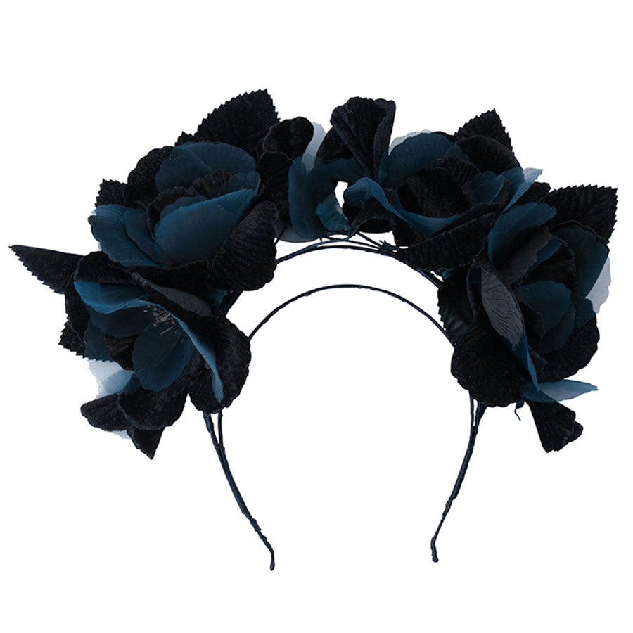 DUCHESS Velvet and Organza Rose Headband