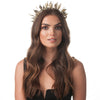 Olga Berg Model Wearing Letitia Antique Brass Metal Leaf Headband
