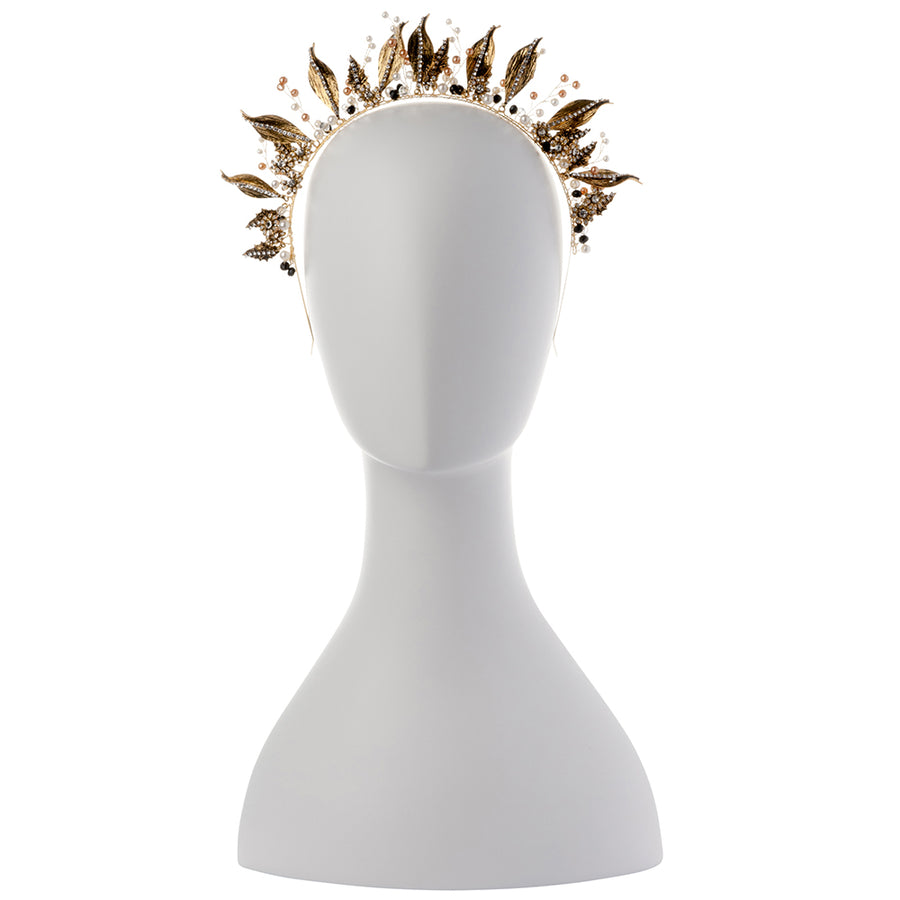LETITIA Metal Leaf Headband