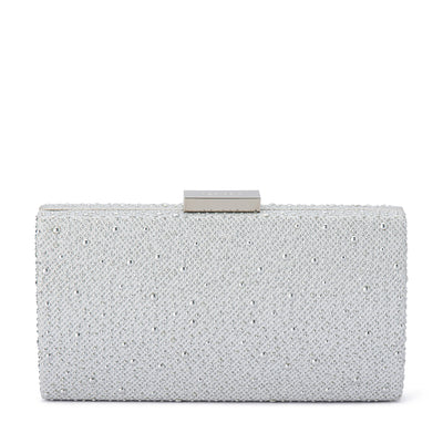 Olga Berg JOELLE Curved Metallic Hotfix Clutch