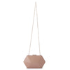 Olga Berg Harley Angular Clutch evening bag in Dark Blush colourway showing shoulder chain