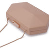 Olga Berg Harley Angular Clutch evening bag in Dark Blush colourway showing detailed close up