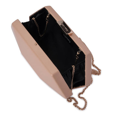 Olga Berg Harley Angular Clutch evening bag in Dark Blush colourway showing internal view