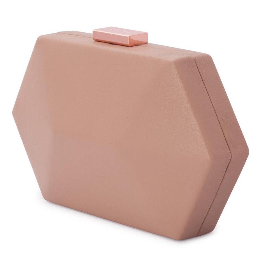 Olga Berg Harley Angular Clutch evening bag in Dark Blush colourway showing front view