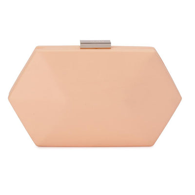 Olga Berg Harley Angular Clutch evening bag in Natural colourway showing front view