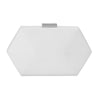 Olga Berg Harley Angular Clutch evening bag in White colourway showing front view