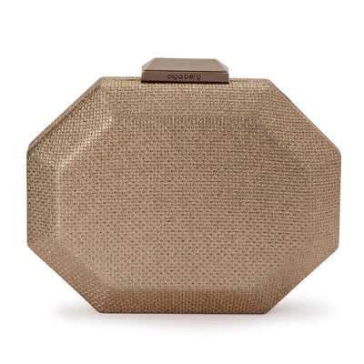 Olga Berg Diana Octagon Clutch evening bag in Brass colourway showing front view