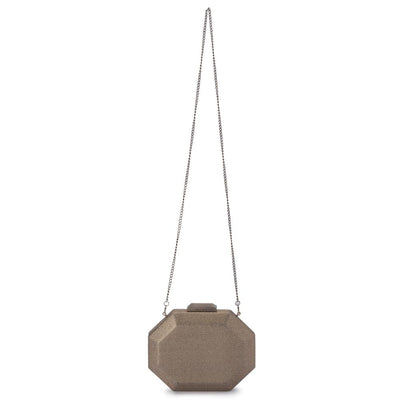 Olga Berg Diana Octagon Clutch evening bag in Brass colourway showing shoulder chain